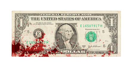 bank note: US one Dollar bill, close up photo, blood