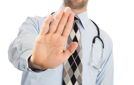 男性医師のように彼は彼が、十分にしている、アクセスを拒否または白で隔離を離れて行くために誰かを指示信号が停止または停止のジェスチャに手をかざす 写真素材 - 54422803