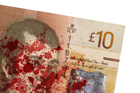 pounds: Scottish Banknote, 10 pounds, isolated on white, blood
