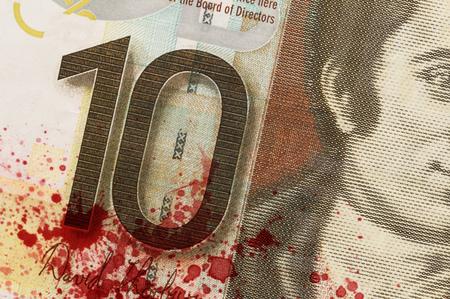 maffia: Scottish Banknote, 10 pounds, isolated on white, blood