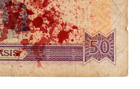 maffia: 50 Gambian dalasi bank note, isolated on white, bloody