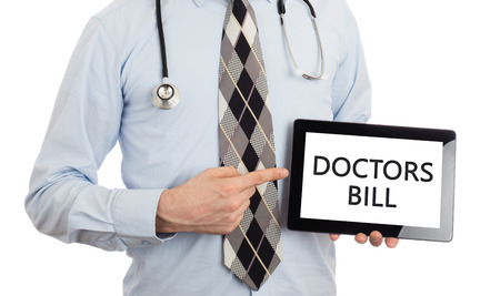 pracitioner: Doctor, isolated on white backgroun,  holding digital tablet - Doctors bill