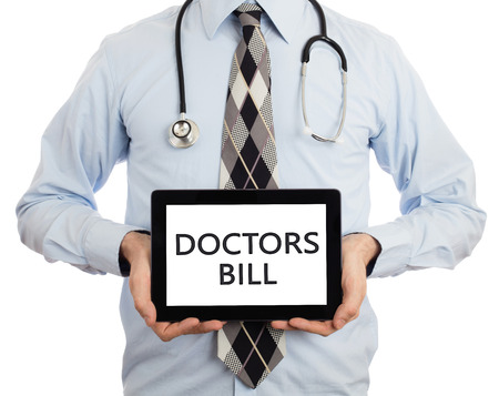 pracitioner: Doctor, isolated on white background,  holding digital tablet - Doctors bill