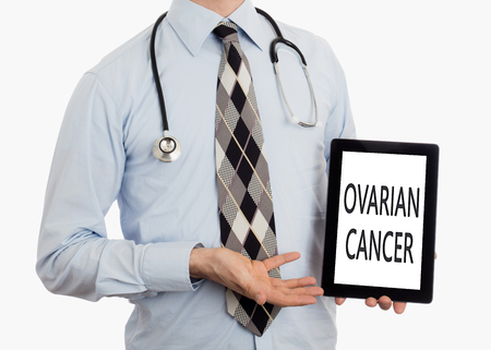 ovarian: Doctor, isolated on white background,  holding digital tablet - Ovarian cancer