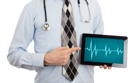 bpm: Doctor, isolated on white background,  holding digital tablet - Heartbeat graph