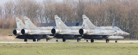 a mirage: LEEUWARDEN, NETHERLANDS - APRIL 11, 2016: French Air Force Dassault Mirage 2000N during the exercise Frisian Flag. The exercise is considered one of the most important NATO training events this year. Editorial