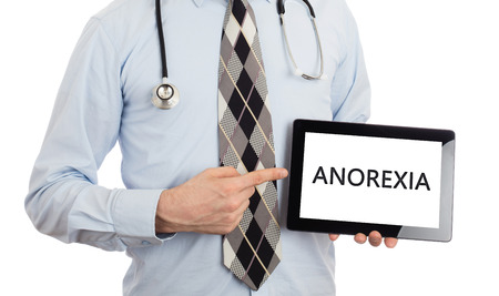 anorexia: Doctor, isolated on white backgroun,  holding digital tablet - Anorexia