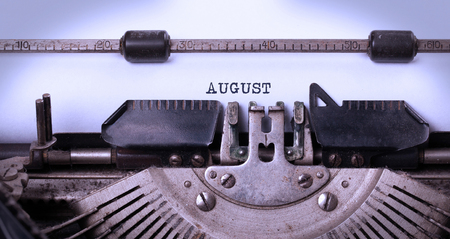 shorthand: Vintage inscription made by old typewriter - August