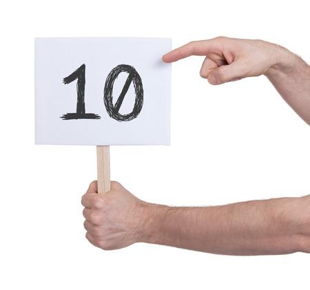 Meld je met een aantal, geïsoleerd op wit - 10 Stockfoto