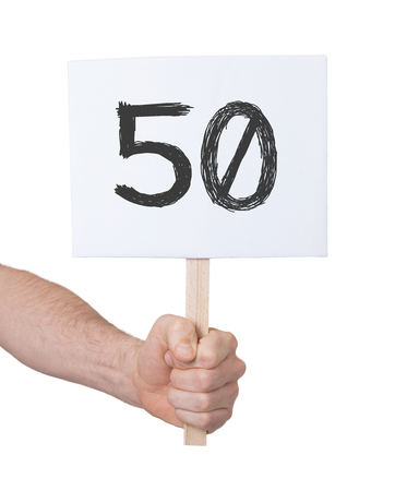 50 number: Sign with a number, isolated on white - 50 Stock Photo
