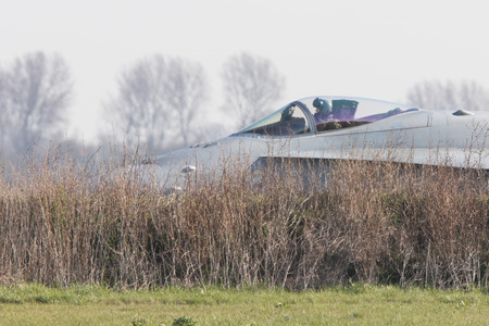 f18: LEEUWARDEN, NETHERLANDS - APRIL 11, 2016: Finish Air Force F-18 Hornet landing during the exercise Frisian Flag. The exercise is considered one of the most important NATO training events this year.