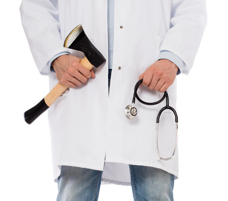 miscreant: Evil medic holding a small axe and stethoscope, isolated on white