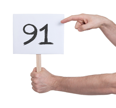 numeracy: Sign with a number, isolated on white - 91