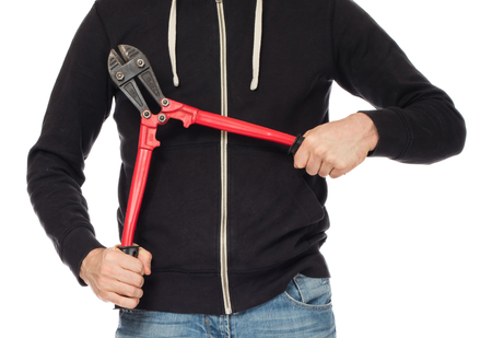 cutters: Robber with red bolt cutters, isolated on white Stock Photo