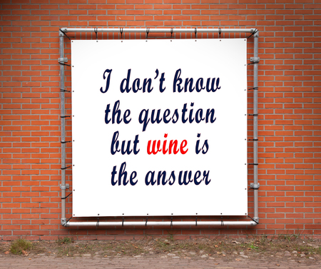 i dont know: Large banner with inspirational quote on a brick wall - I dont know the question Stock Photo