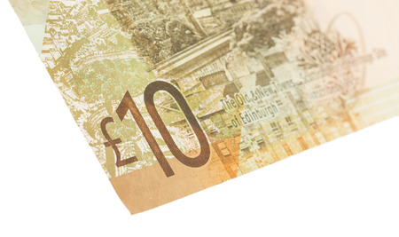 pounds: Scottish Banknote, 10 pounds, isolated on white, selective focus Stock Photo