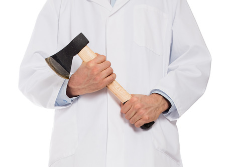 miscreant: Evil medic holding a small axe, isolated on white