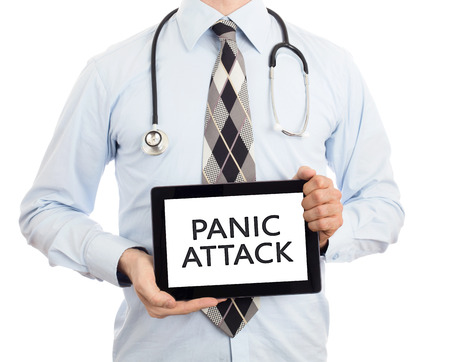 panic attack: Doctor, isolated on white backgroun,  holding digital tablet - Panic attack