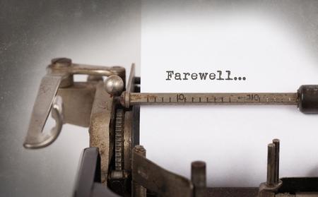 Pożegnanie wpisane słowa na Vintage typewriter, Close-up