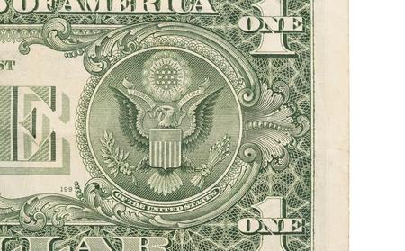 unum: US one Dollar bill, close up photo, seal USA