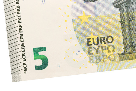 european exchange: Close-up of a 5 euro bank note, isolated