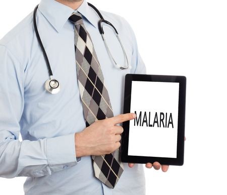 malaria: Doctor, isolated on white backgroun,  holding digital tablet - Malaria Stock Photo