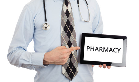 human body substance: Doctor, isolated on white backgroun,  holding digital tablet - Pharmacy
