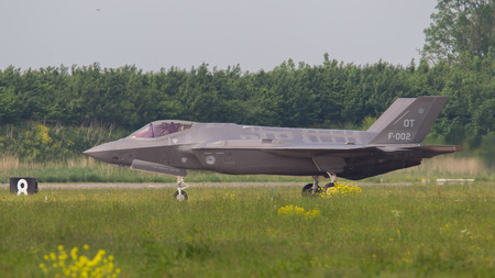 supersonic transport: LEEUWARDEN, THE NETHERLANDS -MAY 26: F-35 fighter during its first test in Europe on May 26, 2016 in Leeuwarden. It is the worlds most advanced multi-role fighter. Editorial