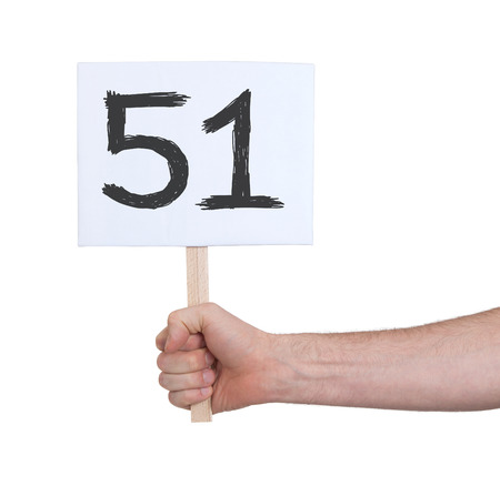 51: Sign with a number, isolated on white - 51 Stock Photo