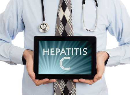 genotype: Doctor, isolated on white background,  holding digital tablet - Hepatitis C