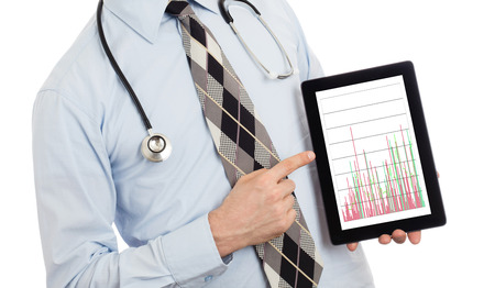 parameter: Doctor, isolated on white background,  holding digital tablet - Graph