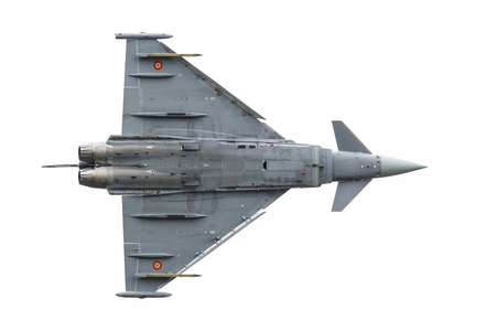 turbofan: LEEUWARDEN, THE NETHERLANDS - JUNE 10: Spanish Air Force Eurofighter Typhoon flying during the Dutch Air Force Open House. June 10, 2016 in Leeuwarden, The Netherlands Editorial