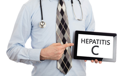 genotype: Doctor, isolated on white backgroun,  holding digital tablet - Hepatitis C
