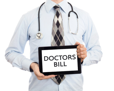 therapie: Doctor, isolated on white background,  holding digital tablet - Doctors bill