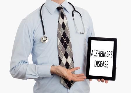 alzheimer s disease: Doctor, isolated on white background,  holding digital tablet - Alzheimers disease
