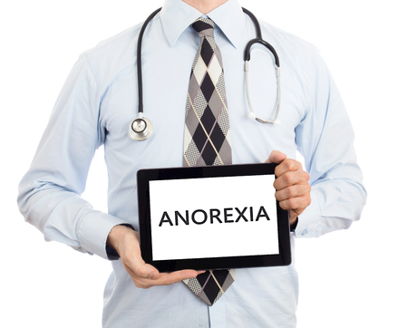 self conscious: Doctor, isolated on white background,  holding digital tablet - Anorexia