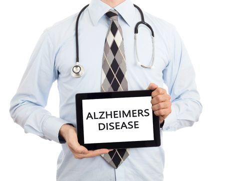 Doctor, isolated on white background,  holding digital tablet - Alzheimers disease