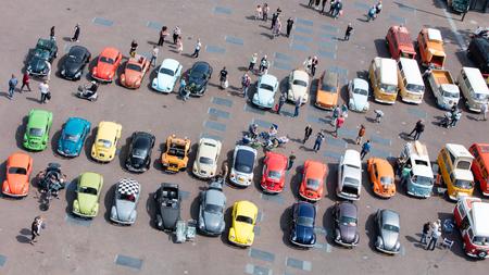 aereal: LEEUWARDEN, THE NETHERLANDS - MAY 28, 2016; Volkswagen Beetle Club gathering in Leeuwarden, the Netherlands on May 28, 2016.