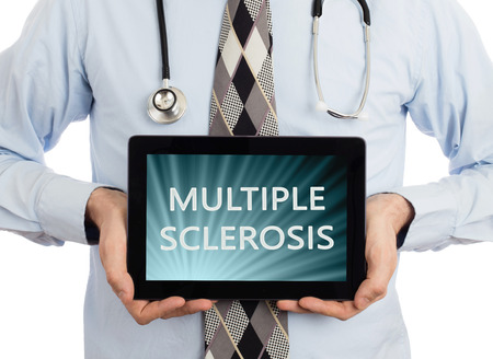 multiple: Doctor, isolated on white background,  holding digital tablet - Multiple sclerosis