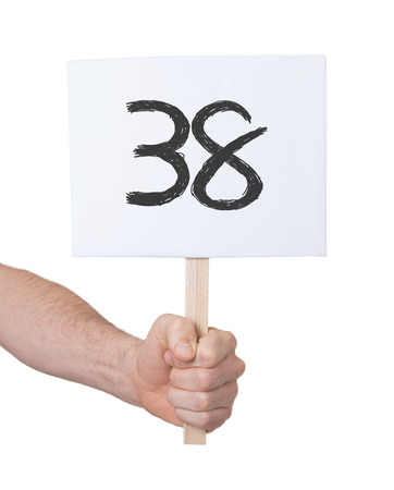 38: Sign with a number, isolated on white - 38