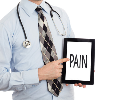 painfully: Doctor, isolated on white background,  holding digital tablet - Pain
