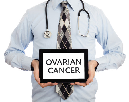 ovarian: Doctor, isolated on white backgroun,  holding digital tablet - Ovarian cancer