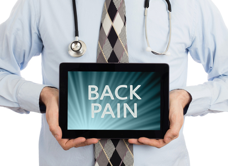 spondylosis: Doctor, isolated on white background,  holding digital tablet - Back pain