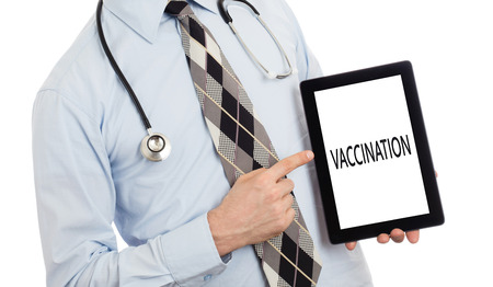 adjuvant: Doctor, isolated on white background,  holding digital tablet - Vaccination