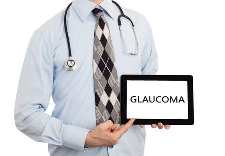 glaucoma: Doctor, isolated on white background,  holding digital tablet - Glaucoma Stock Photo
