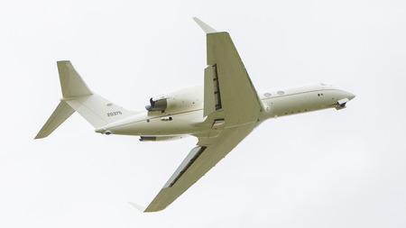 jetliner: LEEUWARDEN, THE NETHERLANDS - JUNE 10: Air Force Gulfstream Aerospace C-20H Gulfstream IV during the Dutch Air Force Open House. June 10, 2016 in Leeuwarden, The Netherlands