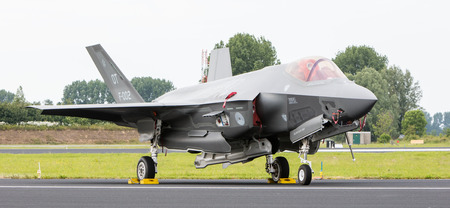 LEEUWARDEN, THE NETHERLANDS - JUNE 10, 2016: Dutch F-35 on the runway during a flyby on its European debut at the Royal Netherlands Air Force Days