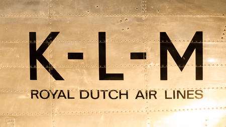 klm: LELYSTAD, THE NETHERLANDS - JUNE 9; Vintage logo of the dutch KLM, royal dutch airlines company founded in 1919. Editorial