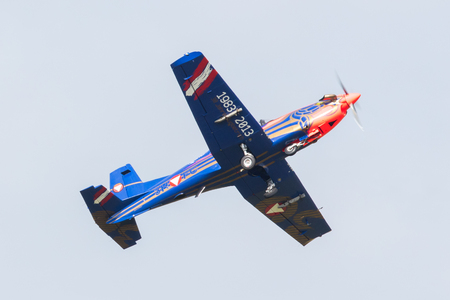 air demonstration: LEEUWARDEN, THE NETHERLANDS - JUNE 10, 2016: Austian PC-7 Pilatus during a demonstration at the Royal Netherlands Air Force Days on june 10, Leeuwarden, The Netherlands