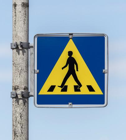pedestrian: Vintage pedestrian transit traffic sign in Iceland